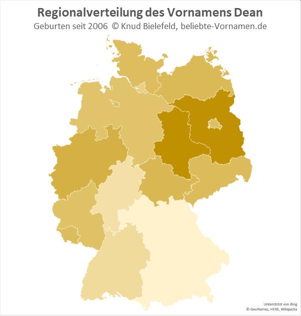Der Name Dean ist in Brandenburg und Sachsen-Anhalt besonders beliebt.