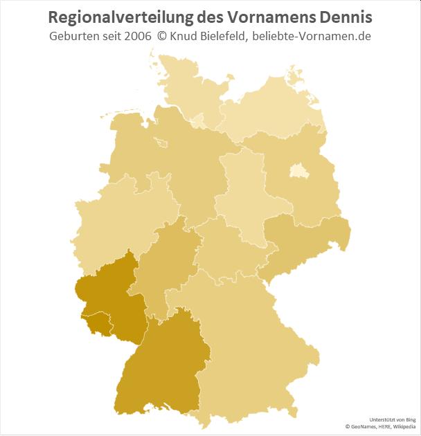 Im Saarland und in Rheinland-Pfalz ist der Name Dennis besonders beliebt.