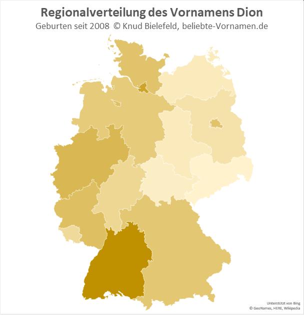 Besonders beliebt ist der Name Dion in Baden-Württemberg.