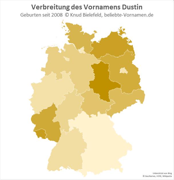 Besonders beliebt ist der Name Dustin in Sachsen-Anhalt.