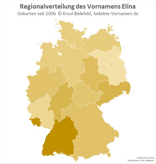 Am beliebtesten ist der Name Elina in Baden-Württemberg und im Saarland.