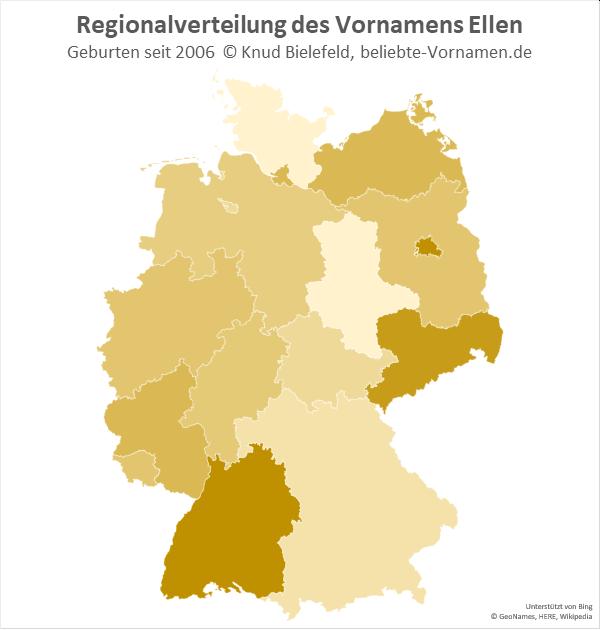 In Baden-Württemberg und in Sachsen ist der Name Ellen besonders beliebt.