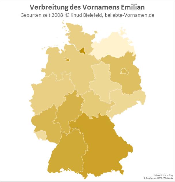 Am beliebtesten ist der Name Emilian in Hamburg.