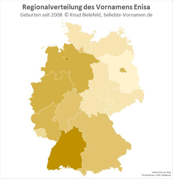In Bremen und in Baden-Württemberg ist der Name Enisa besonders beliebt.