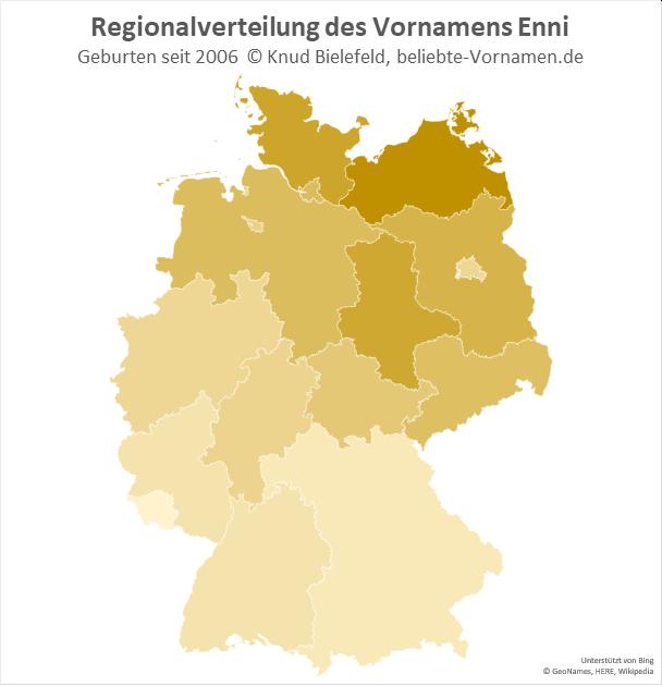 Der Name Enni ist in Norddeutschland populärer als in Süddeutschland.