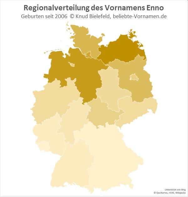 Am beliebtesten ist er Name Enno in Niedersachsen und Mecklenburg-Vorpommern.