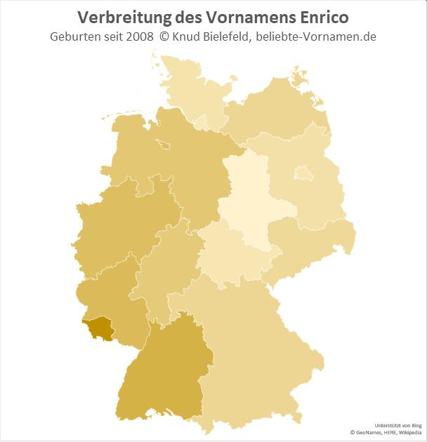 Am beliebtesten ist der Name Enrico heutzutage im Südwesten Deutschlands.