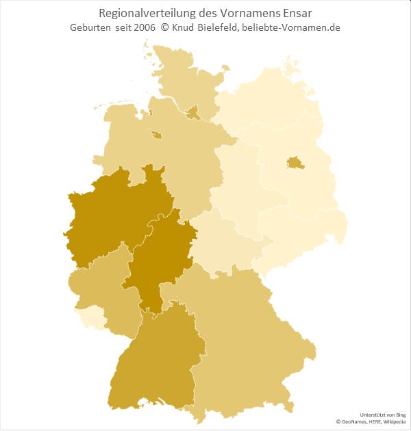 In Hessen und Nordrhein-Westfalen ist der Name Ensar besonders beliebt.