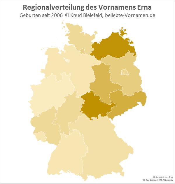 Am häufigsten kommt der Name Erna in Mecklenburg-Vorpommern vor.