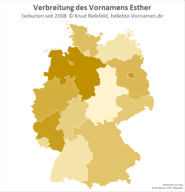 In Niedersachsen ist der Name Esther besonders beliebt.