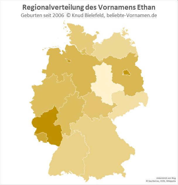 In Rheinland-Pfalz ist der Name Ethan besonders beliebt.