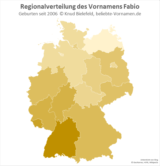 In Baden-Württemberg ist der Name Fabio besonders beliebt.