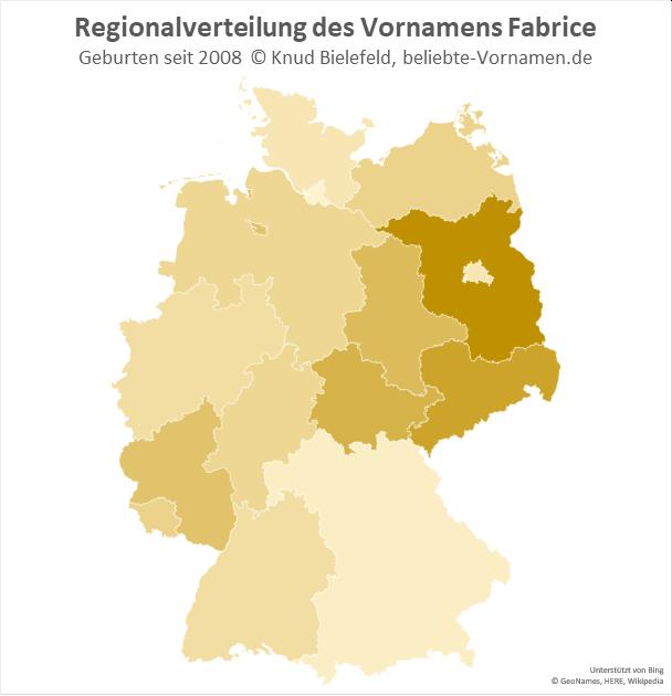 Besonders beliebt ist der Name Fabrice in Brandenburg.