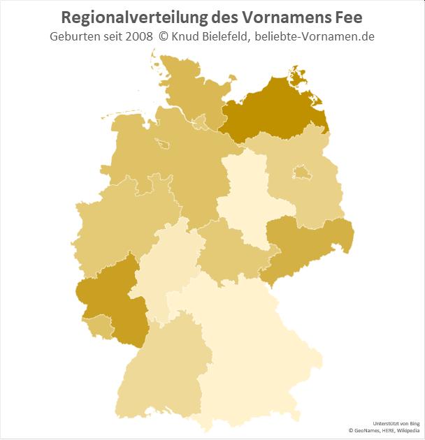 In Mecklenburg-Vorpommern und Rheinland-Pfalz ist der Name Fee besonders beliebt.