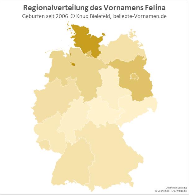 Besonders populär ist der Name Felina in Bremen und Schleswig-Holstein.