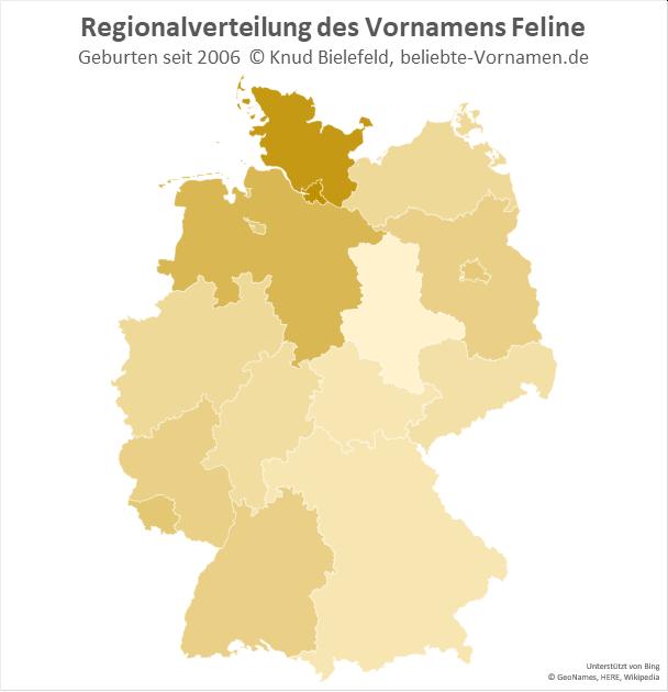 Der Name Feline ist in Hamburg und Schleswig-Holstein besonders beliebt.