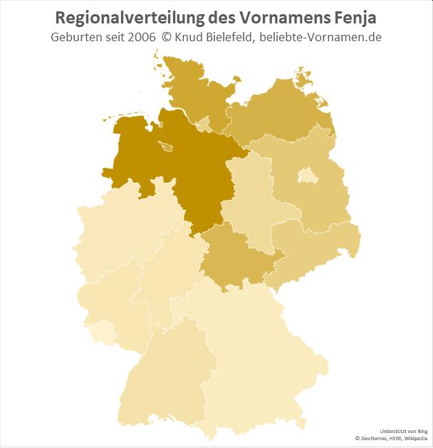 Am beliebtesten ist der Name Fenja in Niedersachsen.