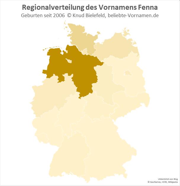 Am beliebtesten ist der Name Fenna in Niedersachsen.