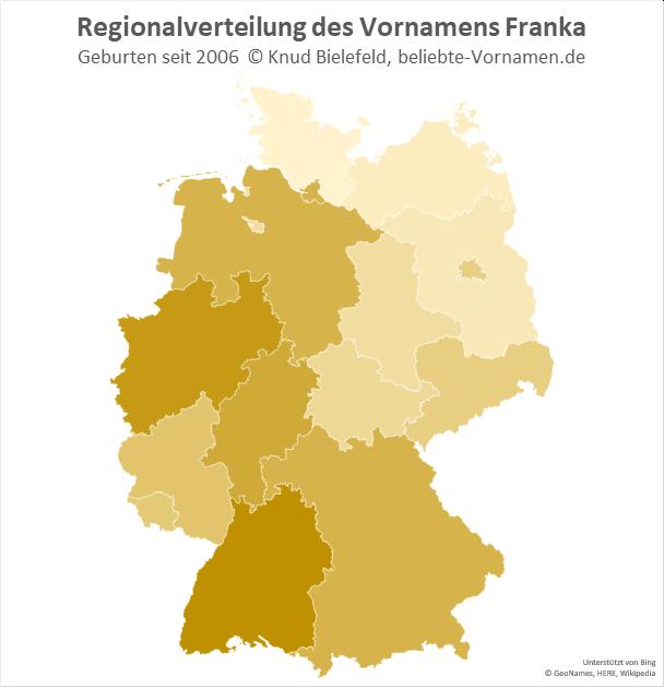 In Baden-Württemberg und Nordrhein-Westfalen ist der Name Franka besonders beliebt.