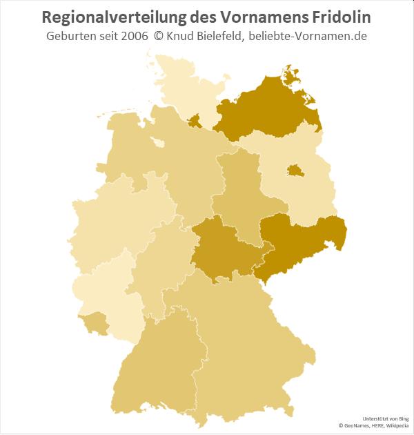 Der Name Fridolin ist in Hamburg, Berlin, Mecklenburg-Vorpommern und Sachsen besonders populär.