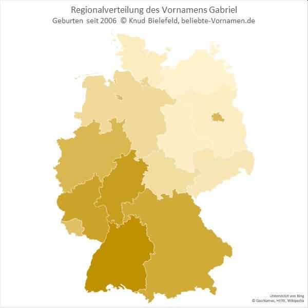 Der Name Gabriel ist im Süd-Westen Deutschlands beliebter als im Nord-Osten.