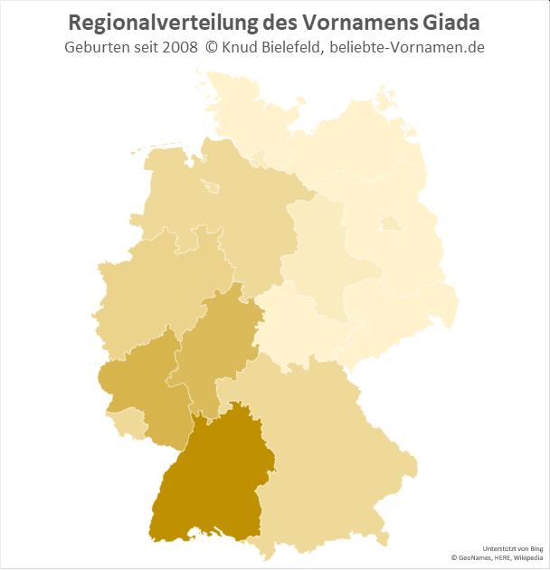 Besonders beliebt ist der Name Giada in Baden-Württemberg.
