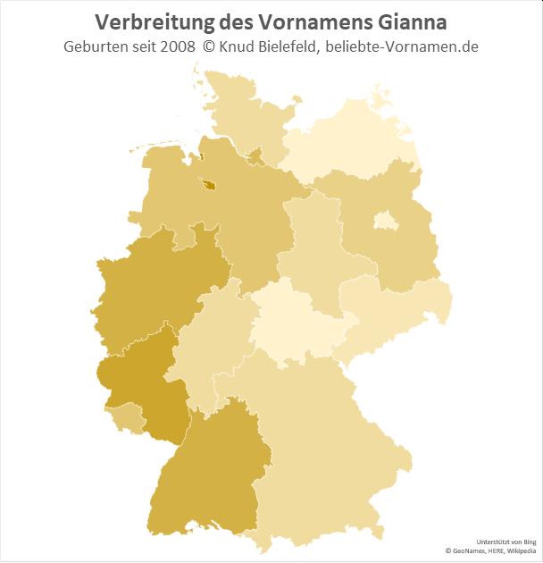 In Bremen und in Rheinland-Pfalz ist der Name Gianna besonders beliebt.