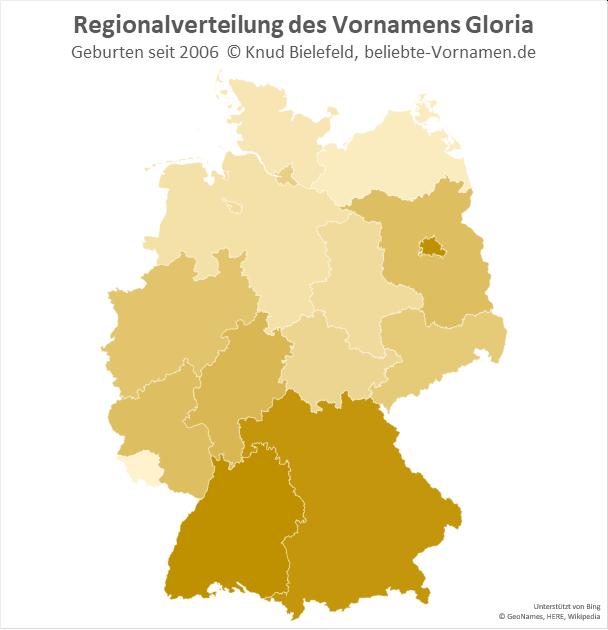In Berlin, Bayern und Baden-Württemberg ist der Name Gloria besonders beliebt.