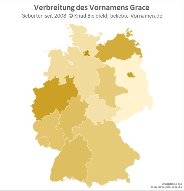 In Hamburg, Berlin und Nordrhein-Westfalen ist der Name Grace besonders beliebt.
