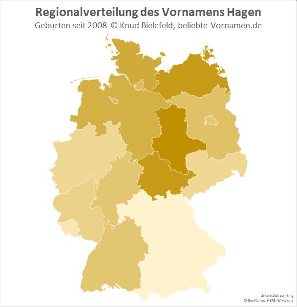Am beliebtesten ist der Name Hagen in Sachsen-Anhalt.