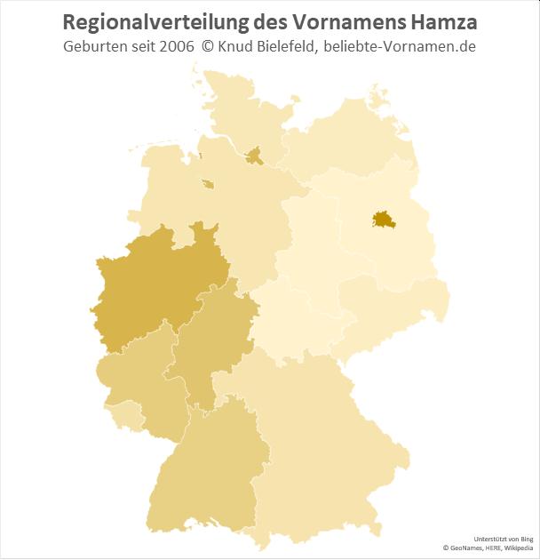 Besonders beliebt ist der Name Hamza in Berlin und Nordrhein-Westfalen.