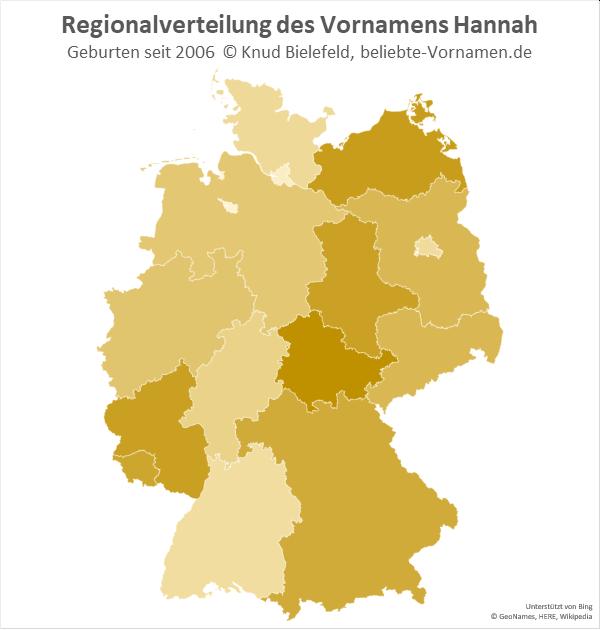Am häufigsten kommt der Name Hannah in Thüringen vor.
