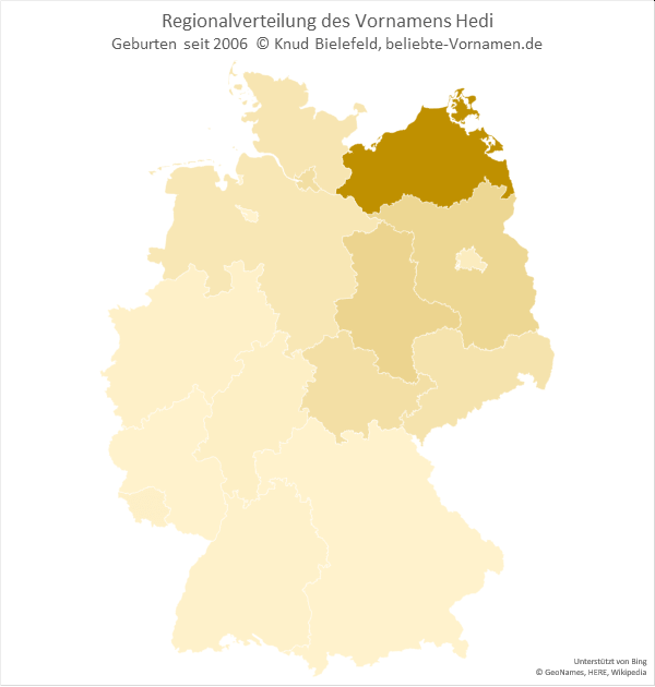 In Mecklenburg-Vorpommern kommt der Name Hedi mit Abstand am häufigsten vor.