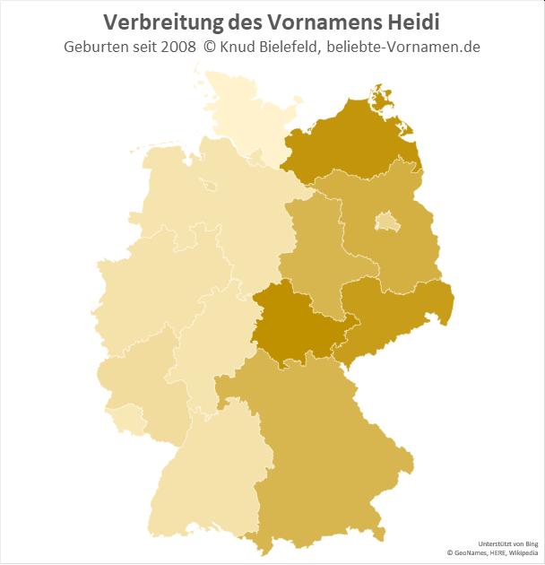 In Thüringen und in Mecklenburg-Vorpommern ist der Name Heidi besonders beliebt.