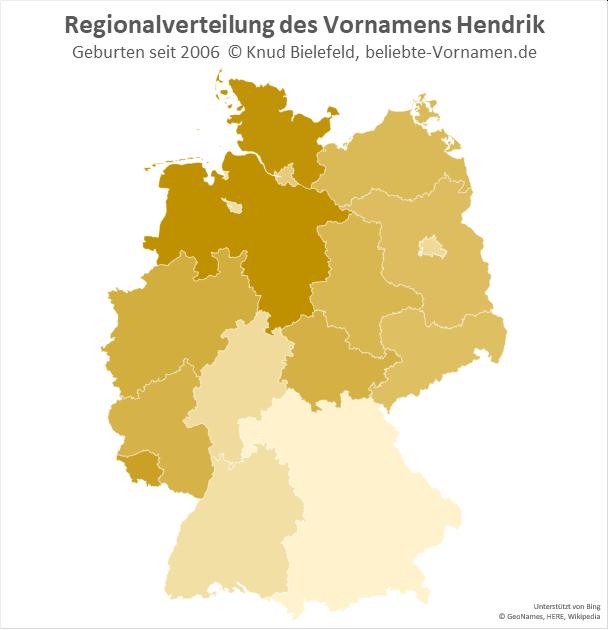 Am beliebtesten ist der Name Hendrik in Schleswig-Holstein und Niedersachsen.
