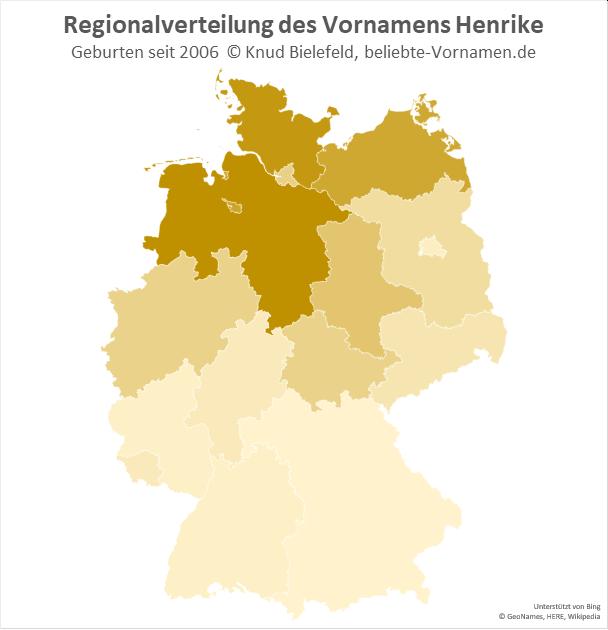 Der Name Henrike ist in Norddeutschland besonders beliebt.