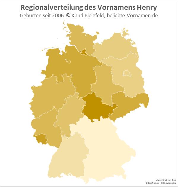 Am beliebtesten ist der Name Henry in Hamburg.