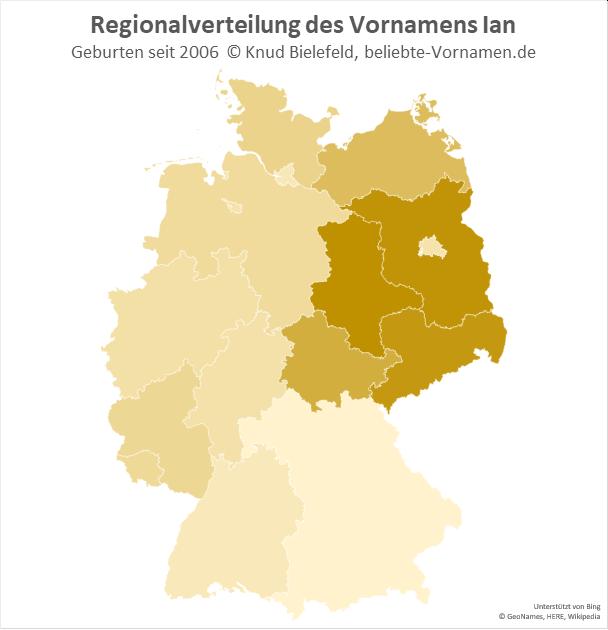Am beliebtesten ist der Name Ian in Ostdeutschland.