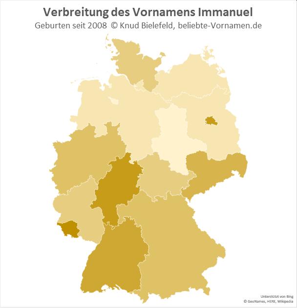 Am beliebtesten ist der Name Immanuel im Saarland und in Hessen.
