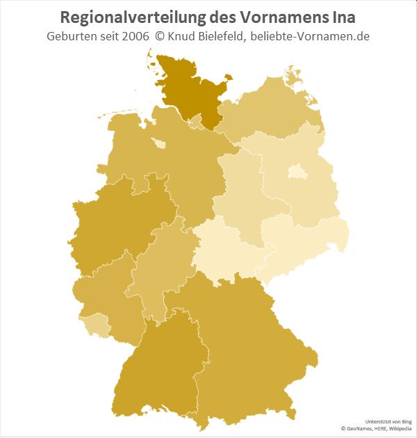 Am beliebtesten ist der Name Ina in Schleswig-Holstein.
