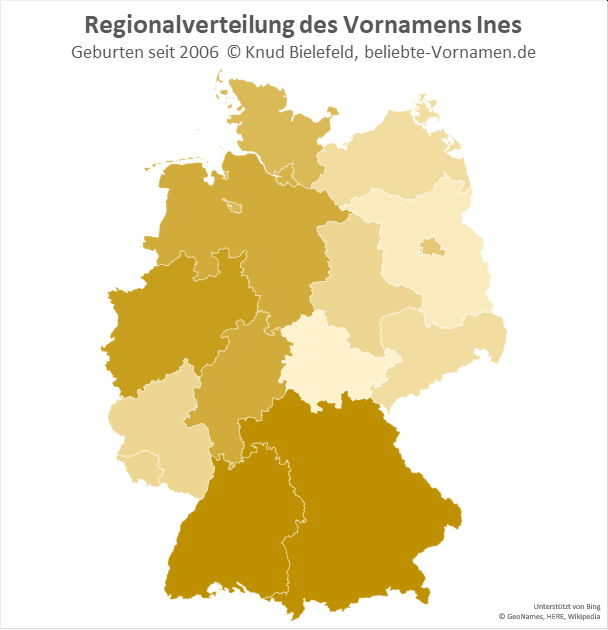 In Bayern und Baden-Württemberg ist der Name Ines besonders beliebt.
