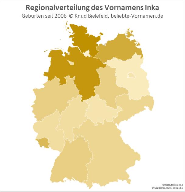 In Niedersachsen und Schleswig-Holstein ist der Name Inka am beliebtesten.