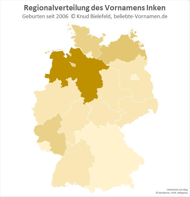Am beliebtesten ist der Name Inken in Niedersachsen.
