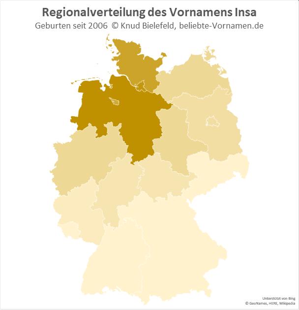 In Hamburg und Niedersachsen ist der Name Insa besonders beliebt.