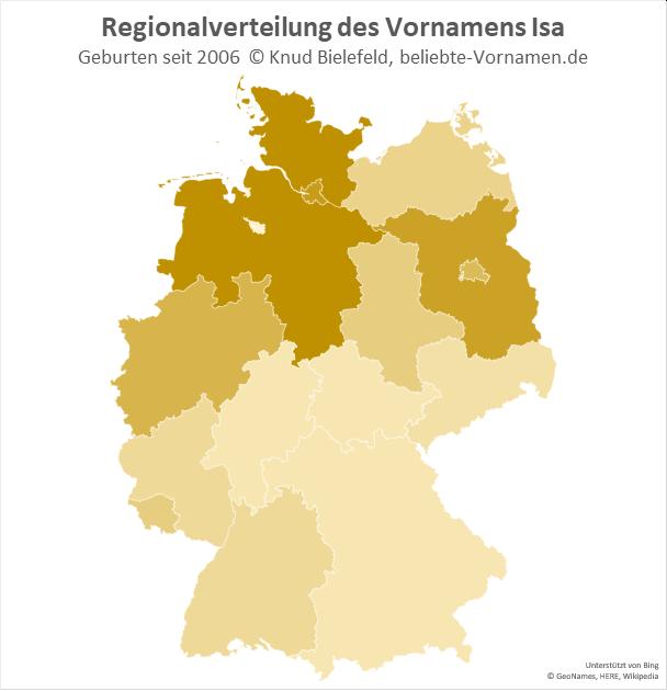 In Schleswig-Holstein, Hamburg und Niedersachsen ist der Name Isa besonders beliebt.