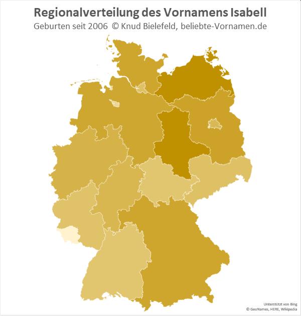 Am beliebtesten ist der Name Isabell in Mecklenburg-Vorpommern und in Sachsen-Anhalt.