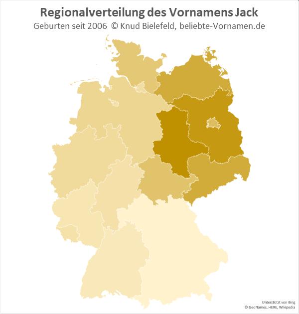 Am beliebtesten ist der Name Jack in Sachsen-Anhalt.