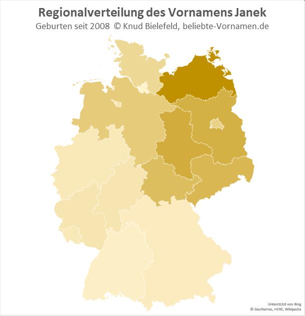 In Mecklenburg-Vorpommern ist der Name Janek besonders beliebt.