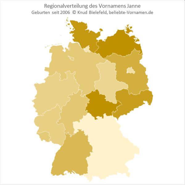 Der Name Janne ist in Mecklenburg-Vorpommern am beliebtesten.