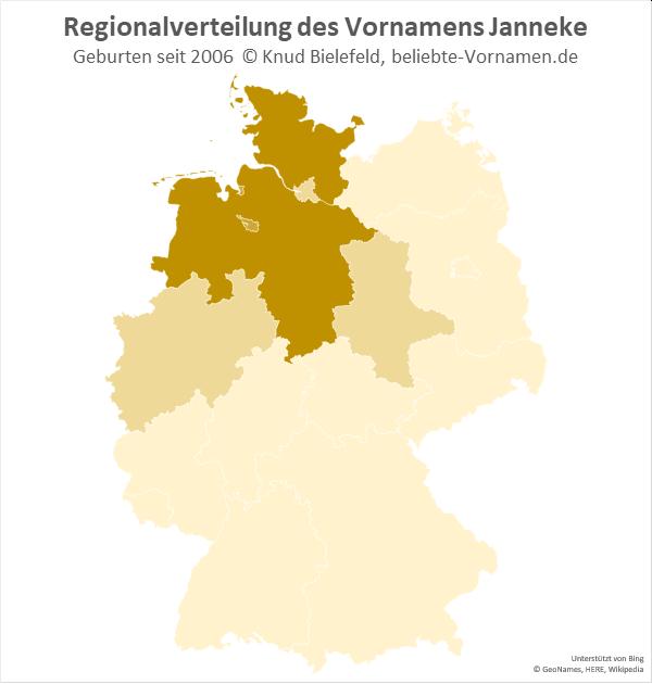 In Niedersachsen und Schleswig-Holstein ist der Name Janneke besonders beliebt.